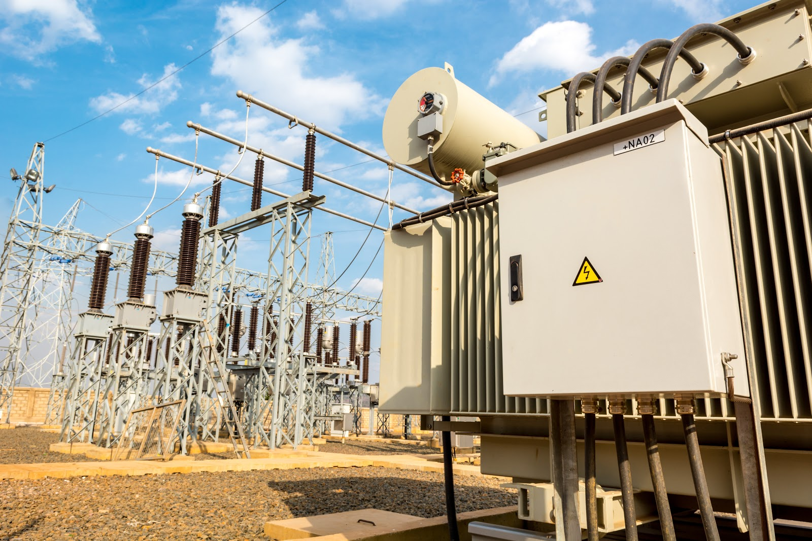 Power utility box on a power transformer in substation switchyard. Electrical distribution.